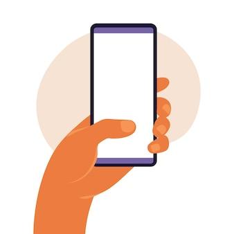 Man mano che tiene smartphone con schermo bianco vuoto. utilizzando il telefono cellulare intelligente. concetto di design piatto. illustrazione vettoriale