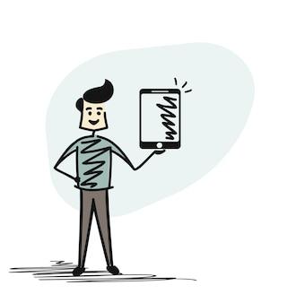 Man mano che tiene tablet - telefono, illustrazione vettoriale di schizzo disegnato a mano del fumetto.