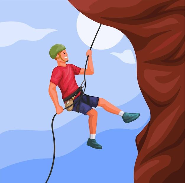 Uomo che appende sulla corda che scala il vettore dell'illustrazione di sport estremo della montagna della roccia