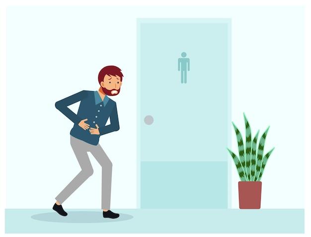 Un uomo che ha mal di pancia è in piedi davanti alla toilette. un uomo ha bisogno di usare il bagno ma la stanza non è disponibile. illustrazione di personaggio dei cartoni animati piatto.