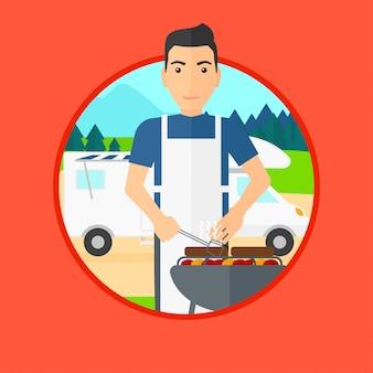 Equipaggi avere barbecue davanti al furgone di campeggiatore.