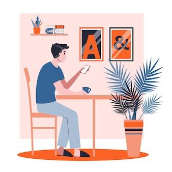 Uomo che fa colazione al mattino. il personaggio maschile adulto beve il tè. illustrazione in stile cartone animato