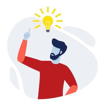 Uomo che ha una nuova idea persona che punta verso la lampadina luminosa che trova la soluzione del problema