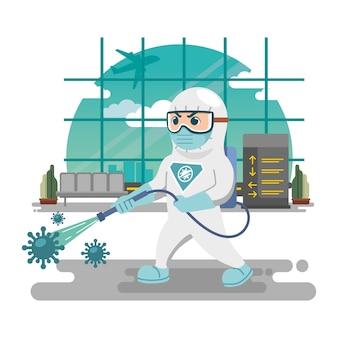 Uomo nel concetto di disinfezione di hazmat