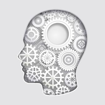 Mente della testa dell'uomo che pensa con le illustrazioni del taglio della carta del simbolo dell'ingranaggio