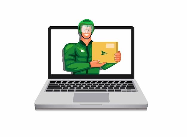 Uomo in casco e giacca tenendo il pacchetto sul computer portatile corriere concetto di servizio di consegna moto