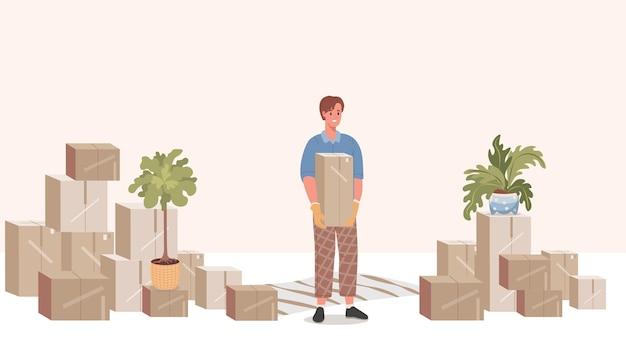 Uomo che tiene il disegno dell'illustrazione della scatola di cartone