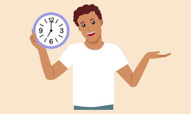 Uomo che tiene l'orologio nelle sue mani