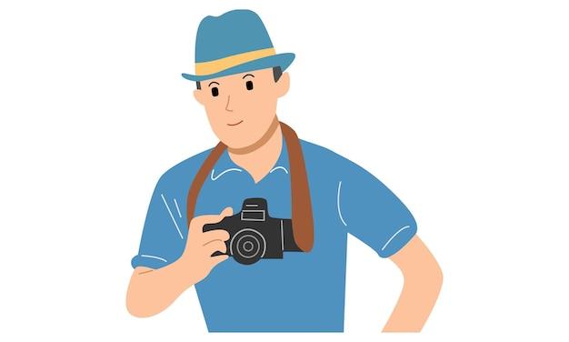 Uomo con in mano una fotocamera digitale