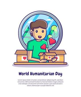 Uomo che tiene la scatola delle donazioni per le illustrazioni vettoriali del fumetto della giornata mondiale dell'aiuto umanitario. concetto di icona giornata mondiale umanitaria isolato vettore premium