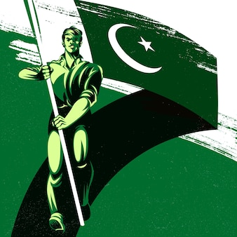 Uomo che tiene una bandiera dell'india con illustrazione vettoriale di orgoglio