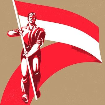 Uomo che tiene una bandiera dell'indonesia con illustrazione vettoriale di orgoglio