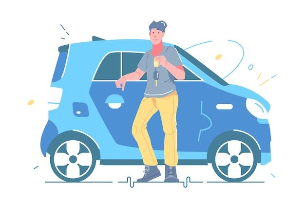 Uomo che tiene le chiavi dalla nuova illustrazione vettoriale di auto. ragazzo in piedi vicino allo stile piatto dell'automobile. attività di noleggio auto, autosalone. concetto di vendita o noleggio auto. isolato su sfondo bianco