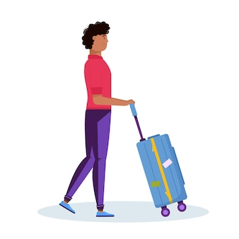 Uomo che tiene i bagagli per il turismo d'avventura, viaggi. design decorativo da viaggio con valigia, bagaglio per viaggiatore. vettore alla moda del fumetto piatto.
