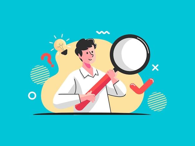Uomo con lente d'ingrandimento concetto domande poste ricerca di informazioni