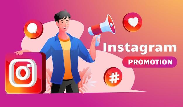 Uomo con megafono che promuove account instagram