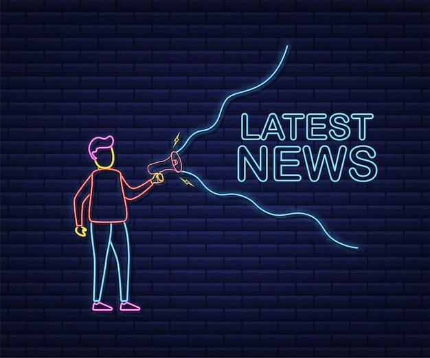 Uomo che tiene il megafono con le ultime notizie. bandiera del megafono. web design. stile neon. illustrazione di riserva di vettore.