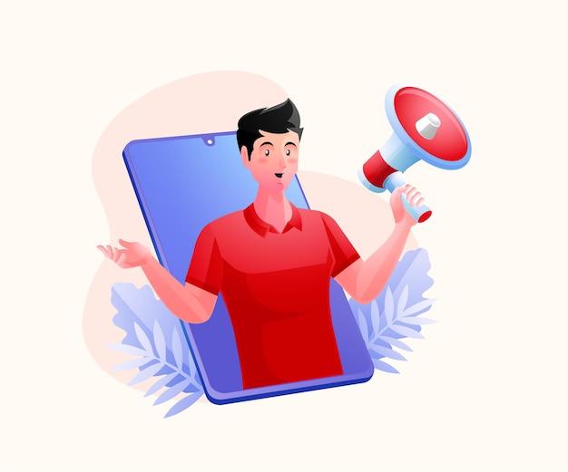 Un uomo con megafoni, concetto di promozione della strategia di marketing