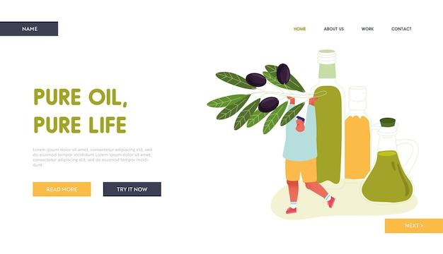 Uomo che tiene ramo d'ulivo con la pagina di destinazione del sito web di bacche nere.