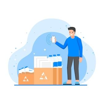 Uomo che tiene uno smartphone in attesa di riciclare i suoi documenti, bottiglie e scatole