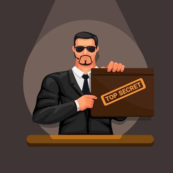 Uomo che tiene la custodia della cartella top secret con riflettori sul simbolo del personaggio avatar della camera oscura vettore dark