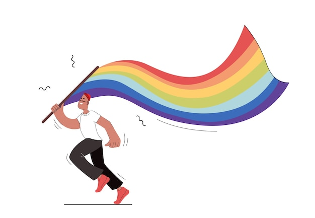 Un uomo tiene in mano una bandiera lgbt. il ragazzo isolato corre con una bandiera tra le mani in uno stile piatto