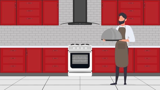 Un uomo tiene un piatto di metallo con un coperchio. il ragazzo nel grembiule da cucina è un vassoio. ottimo per banner e articoli sul tema culinario. vettore.