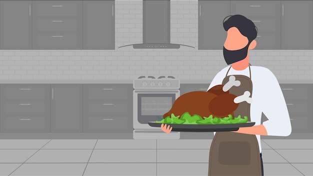 Un uomo tiene in mano un tacchino arrosto. il tizio nel grembiule da cucina tiene in mano del pollo fritto. ottimo per banner e articoli sul tema culinario. vettore.