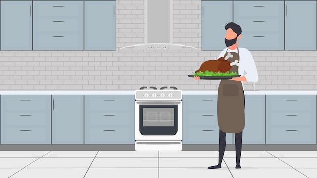 Un uomo tiene in mano un tacchino arrosto. il tizio con il grembiule da cucina tiene in mano del pollo fritto. ottimo per banner e articoli sul tema culinario. vettore.
