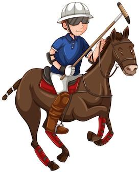 Uomo a cavallo che gioca a polo