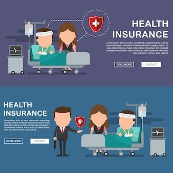 Uomo in ospedale ferito e concetto di servizi assicurativi per banner, concetto di assicurazione sanitaria. protezione della salute. assistenza medica. concetto di assistenza sanitaria.