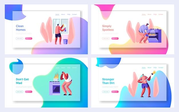 Set di modelli di pagina di destinazione del sito web di attività domestiche.