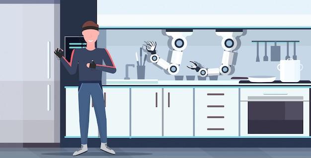 Uomo umanoide con fili elettrodi indicatori controllo astuto pratico chef robot robot assistente innovazione tecnologia intelligenza artificiale concetto moderno cucina interno orizzontale