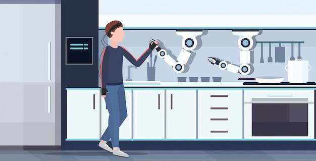 Uomo umanoide con fili elettrodi indicatori handshaking astuto pratico chef robot robot assistente innovazione tecnologia intelligenza artificiale concetto moderno cucina interno orizzontale