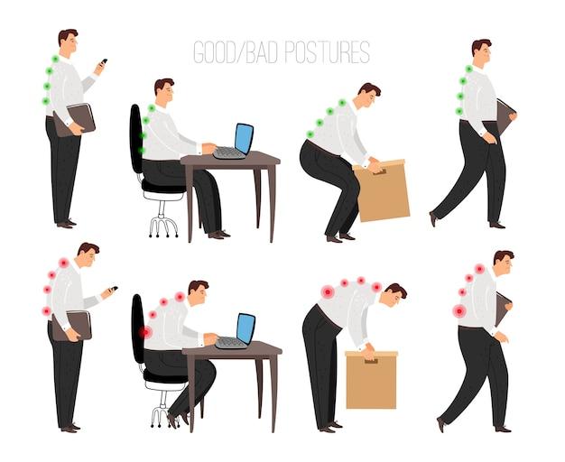 Posture scorrette e corrette dell'uomo. correttamente posizione di seduta del laptop e sollevamento di oggetti pesanti, concetto in piedi e camminare correttamente con carattere di persona di sesso maschile isolato su sfondo bianco, vettore