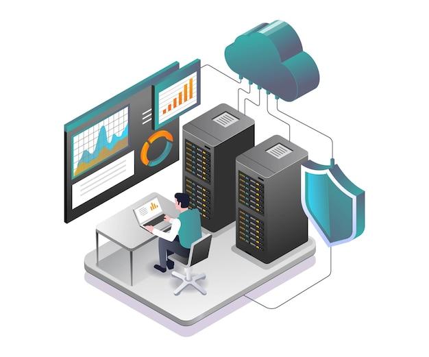 L'uomo sta analizzando la sicurezza dei dati del server
