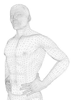 L'uomo sta piegando le mani sulla cintura. la persona di costituzione atletica si aspetta o è rilassata. illustrazione vettoriale di un linee nere su sfondo bianco.