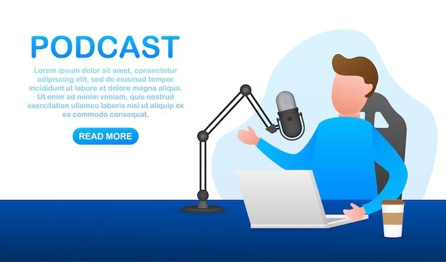 Un uomo sta facendo podcast dal vivo sul suo laptop. streaming live, trasmissione piatta. illustrazione di riserva di vettore