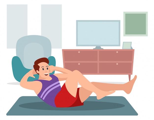 Un uomo sta esercitandosi a casa illustrazione