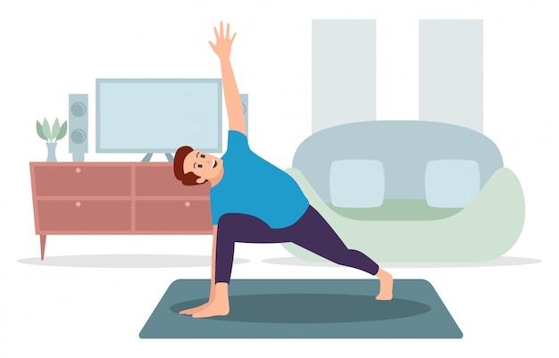 Un uomo sta esercitandosi all'interno, illustrazione di yoga