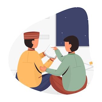 L'uomo sta imparando a leggere il corano insieme all'illustrazione del progetto concettuale dell'insegnante