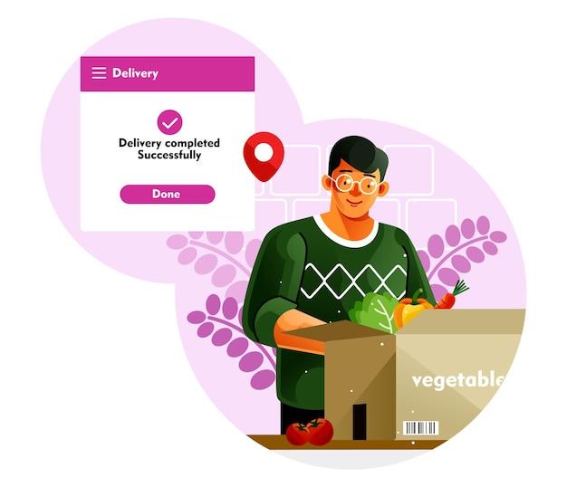 L'uomo sta aprendo una scatola di consegna di verdure