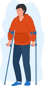 L'uomo è malato e usa le stampelle uomo dei cartoni animati con le stampelle personaggio del cliente dell'assicurazione sanitaria infortunio