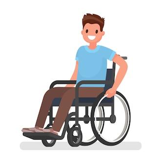 L'uomo è seduto su una sedia a rotelle su uno sfondo bianco