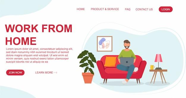 L'uomo sta sedendosi con il computer portatile sul sofà a casa. lavorando su un computer. concetto di design piatto di lavorare da casa per il modello di pagina di destinazione e sito web