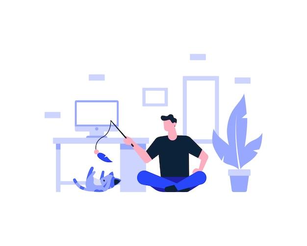 Un uomo sta prendendo una pausa dal lavoro mentre gioca con un'illustrazione di gatto carino