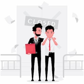 Un uomo è disoccupato perché un'azienda chiusa presenta 2 ragazzi con una scatola che escono dall'azienda