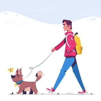 L'uomo sta camminando con il cane. felice dog sitter. cucciolo divertente