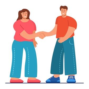 Un uomo è una donna che stringe la mano amicizia conoscente persone in piedi incontra relazioni amichevoli il ragazzo e la ragazza salutano isolato su sfondo bianco