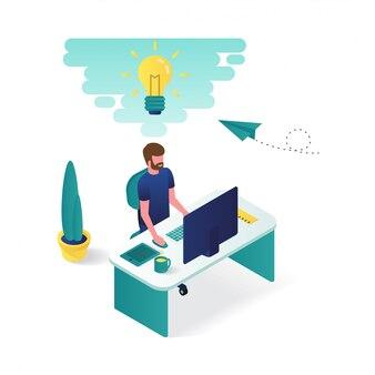 L'uomo sta lavorando sulla sua scrivania in graphic design 3d isometrico illustrazione.